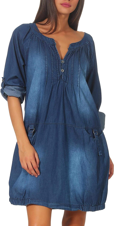 Malito Mujer Jeans Vestida Bata Prenda Algodón 6255