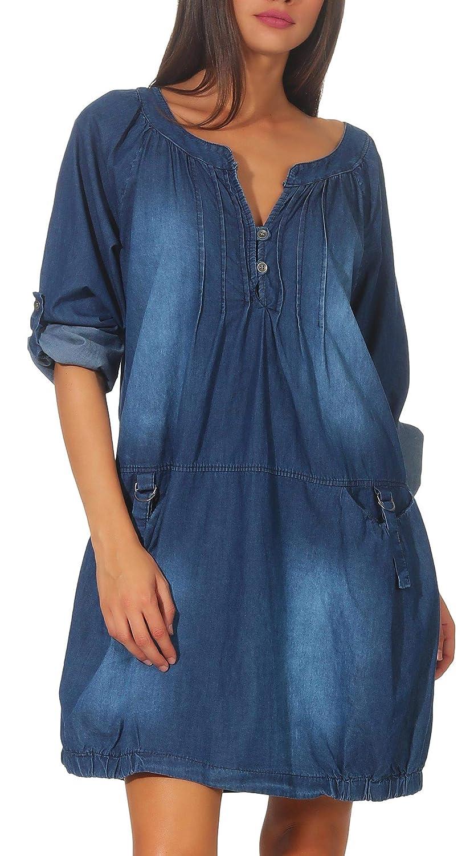 4924786377b8f Malito Donna Jeans Abito Giacca Maglione Cotone 6255 (Blu ...