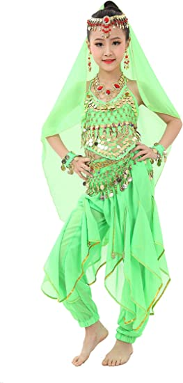 Cielary Kids Girls Belly Dance Halter Top Pants Costume Set Halloween Outfit with Head Veil Waist Chain and Bracelets