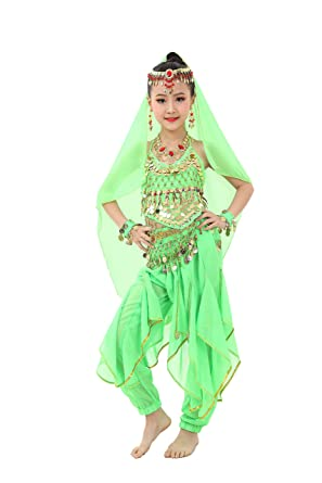 69ad16543b5b Amazon.com: Cielary Kids Girls Belly Dance Halter Top Harem Pants Costume  Set Halloween Outfit with Head Veil Waist Chain and Bracelets: Clothing