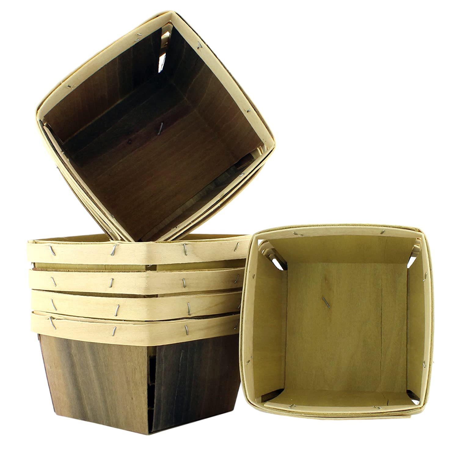 "One Quart Wooden Berry Baskets (8-Pack); 5.5"" Square Vented Wood Boxes for Fruit Picking or Arts & Crafts Cornucopia Brands"