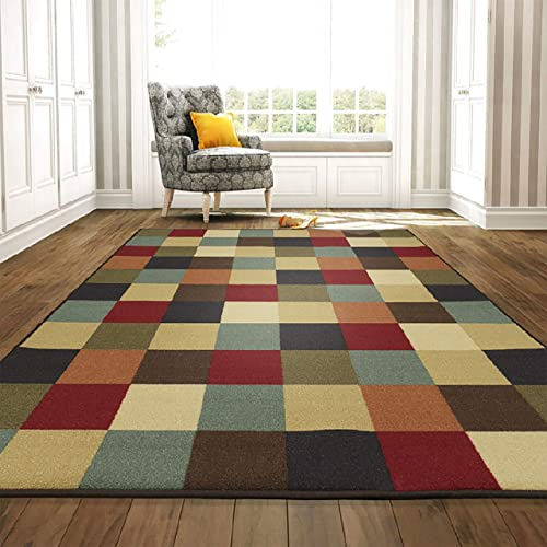 Ottomanson Otto Home Collection Boxes Contemporary Design Modern Area Rug Skid Non-Slip Rubber Backing, 98 L x 118 W, Multi-Color, 8 2 X 9 10 , Multicolor Checkered