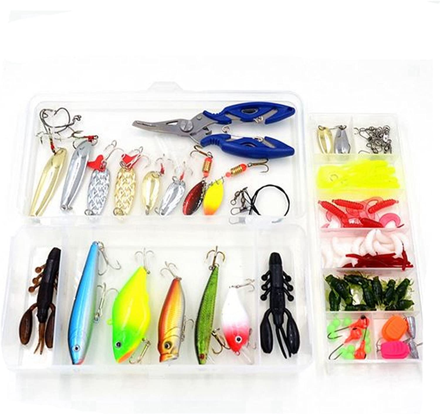 Salmon Isafish Fishing Lures Set Jigs Fishing Baits Kit for Bass Trout Topwater Lures Including Spoon Lures CrankBait Soft Plastic Worms