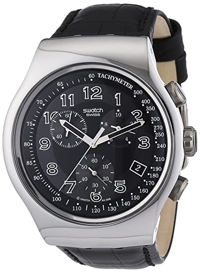 Swatch YOS440 - Reloj analógico de caballero de cuarzo con correa de piel negra (cronómetro) - sumergible a 30 metros: Swatch: Amazon.es: Relojes
