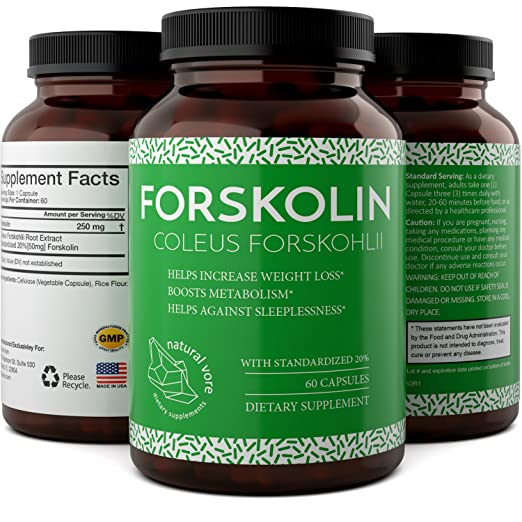 Forskolin Extract Weight Loss Supplement Natural Diet Pills for Men & Women - Natural Fat Burn Benefits Boost Metabolism Curb Appetite Preserve Lean Body Mass Pure Coleus Forskohlii - Biogreen Labs