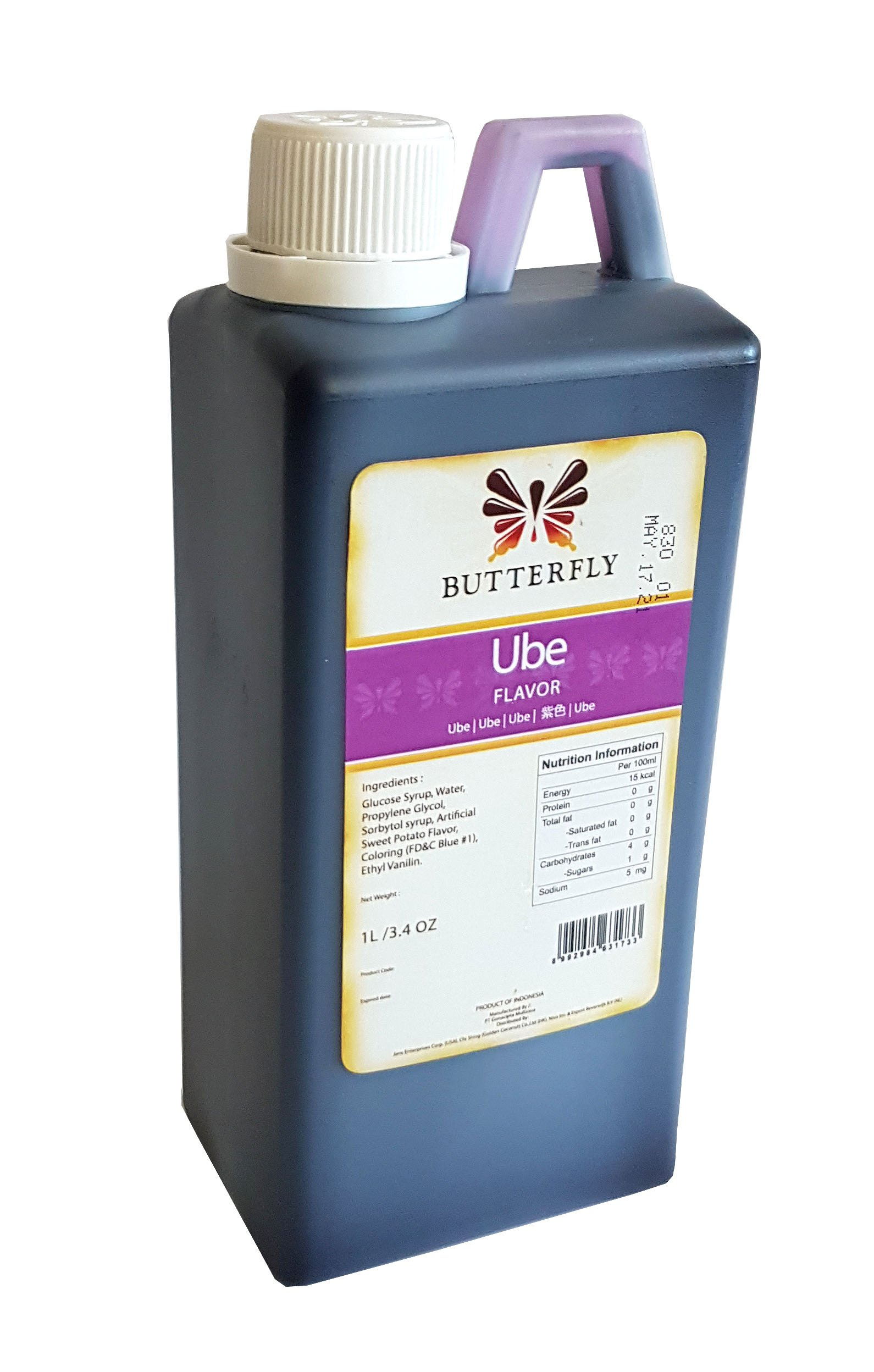 Ube Purple Yam Flavoring Extract Restaurant Size by Butterfly 1 Liter, 33.8 Ounce
