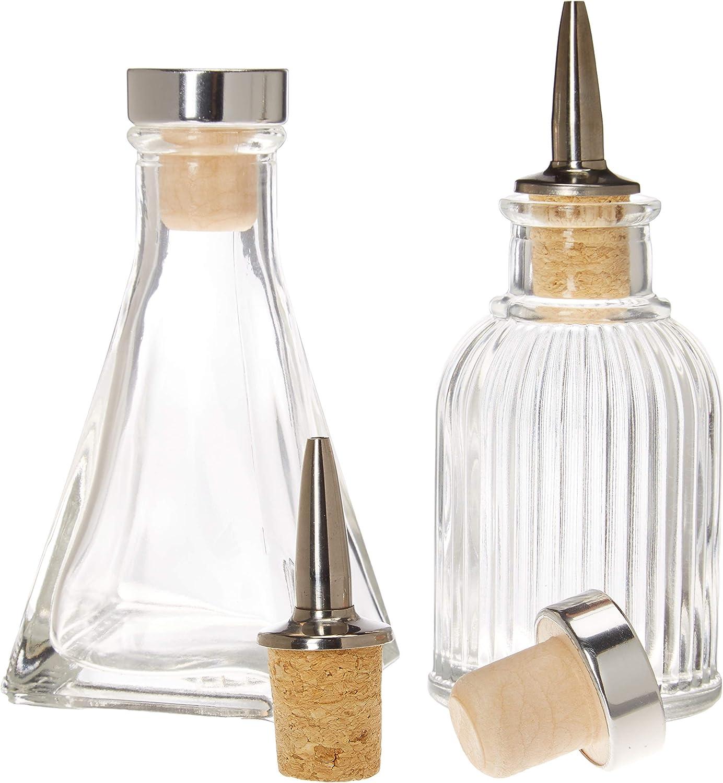 Bitters Bottles - Set of 2   90ml - Glass Cocktail Syrups, Shrub, Bitter Dropper Bottle - 2 Types of Cap - Cork Dash Dispenser Caps & Airtight Stopper Lids to Keep Your Ingredients Fresher, Longer