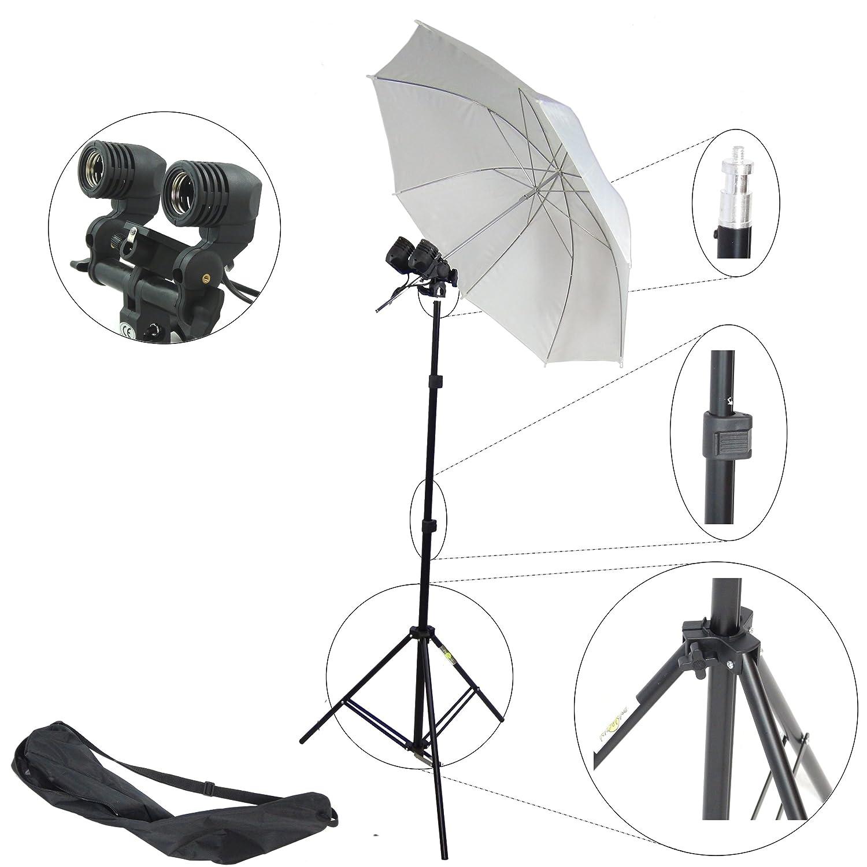 DynaSun MM2 - Kit para estudio profesional (caballete, portalámparas doble, paraguas, difusor de color blanco): Amazon.es: Electrónica