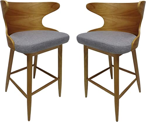 Christopher Knight Home Truda Mid Century Modern Fabric Barstools Set of 2 in Light Grey, Natural