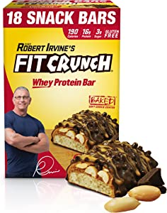 FITCRUNCH Snack Size Protein Bars, Designed by Robert Irvine, World's Only 6-Layer Baked Bar, Just 3g of Sugar, Gluten Free, High Protein & Soft Cake Core (18 Count Peanut Butter)