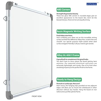 Pragati Systems Genius Regular Steel (Magnetic) Whiteboard GRMWB4560,  Lightweight Aluminium Frame, 1 5x2 Feet (Pack of 1)