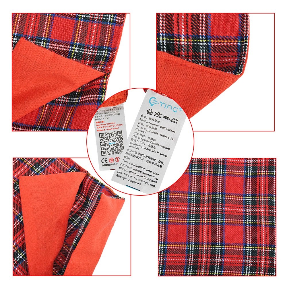 E-TING Sleeping Bag Christmas Accessory for Elf on the Shelf (Doll is not included) (Red Plaid)