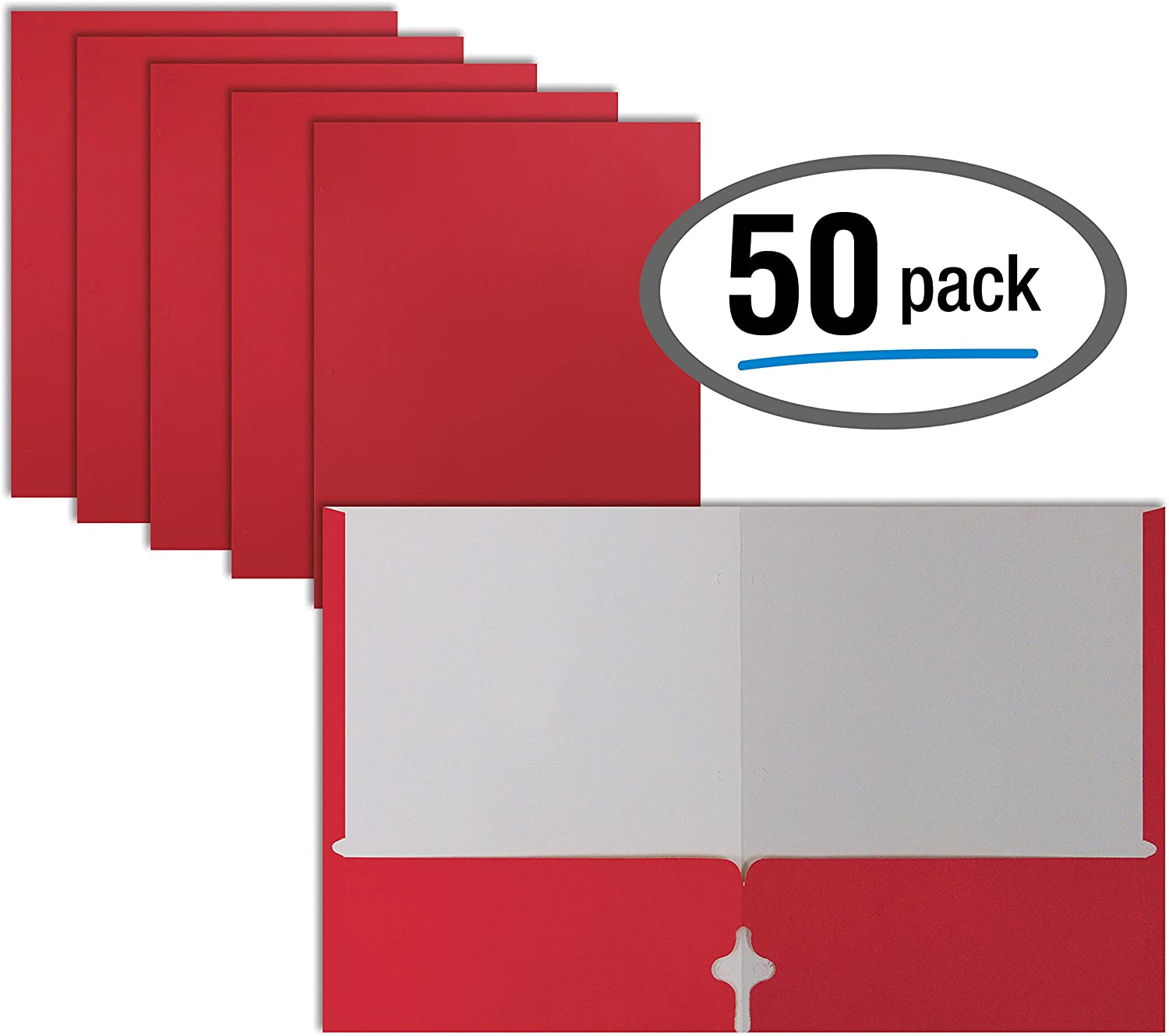 Two Pocket Portfolio Folders, 50-Pack, RED, Letter Size Paper Folders, by Better Office Products, 50 Pieces, Red