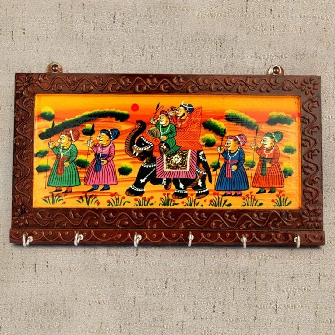 Wall key holders buy wall key holders online at low prices in ethnic arts brown color wooden rajasthani art work 6 hook hanging key holdey 1006 madrichimfo Images