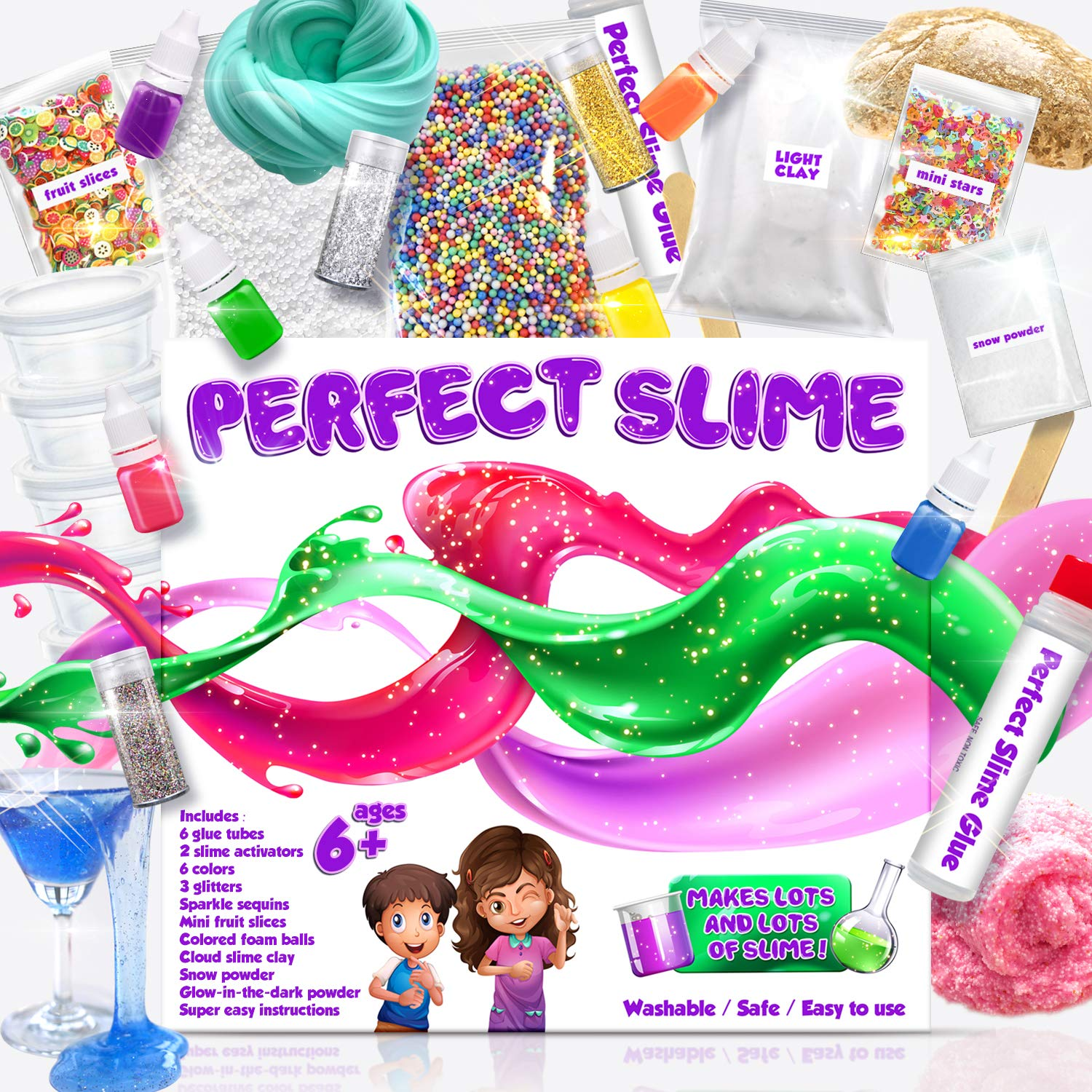 PERFECT SLIME for Girls and Boys - Everything In One Box, All Ages, Clear Slime, Cloud Slime, Glitter, Crunchy, Snow Slime, Glow Dark, And Gold Slime. Easy Instructions, Great Results Every Time!
