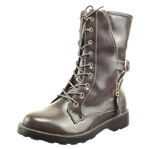 b9289bc560 Sopily - Zapatillas de Moda Botines botas militares altas Media pierna mujer  cremallera Hebilla dorado Talón