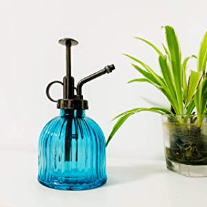 "MOAMI Plant Mister - 6.3"" Tall Glass Water Spray Bottle with Plastic Top Pump, Glass Watering Spray Bottle Vintage Small Watering Can for House Plants, Garden, Cleaning Solutions, Home Decora (Blue)"