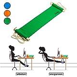 Amazy Fuß Hängematte für extra breite Tische bis 2,00 m – Praktische Fußstütze zur Entspannung und Entlastung im Büro (Grün)