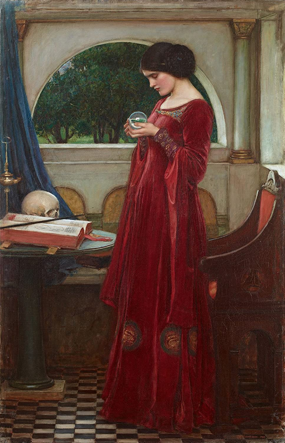John William Waterhouse - The Crystal Ball, Size 16x24 inch, Poster art print wall décor