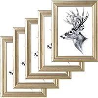 WOLTU 5er Set Bilderrahmen Artos Stil Holz Rahmen Fotogalerie Glasscheibe