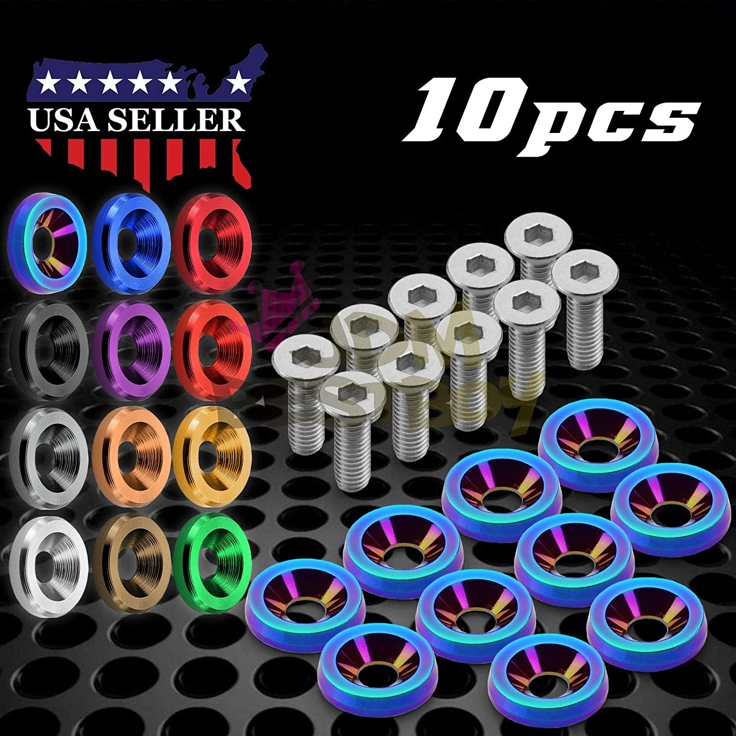 iJDMTOY 4 JDM Racing Style Gold Aluminum Washers Bolts Kit for Car License Plate Frame, Fender, Bumper, Engine Bay, etc