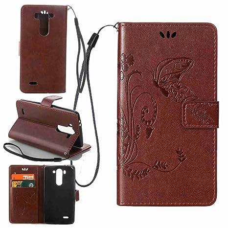 pinlu Funda para LG G3s (5.0pulgada) Función de Plegado Flip Wallet Case Cover Carcasa Piel PU Billetera Soporte con Mariposa Grass Marrón Oscuro