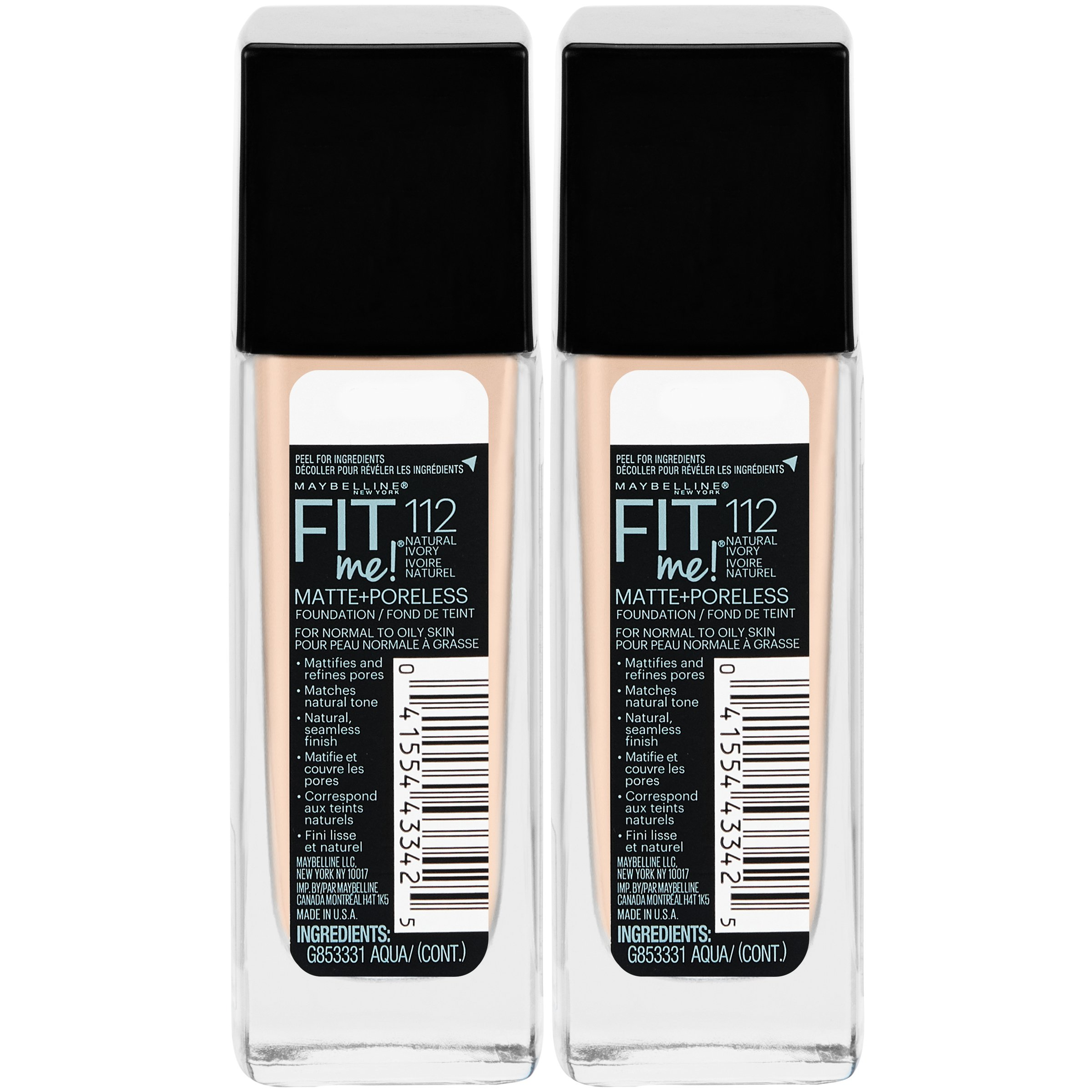 Maybelline New York Fit Me Matte + Poreless Liquid Foundation Makeup, Natural Ivory, 2 Count by Maybelline New York (Image #3)