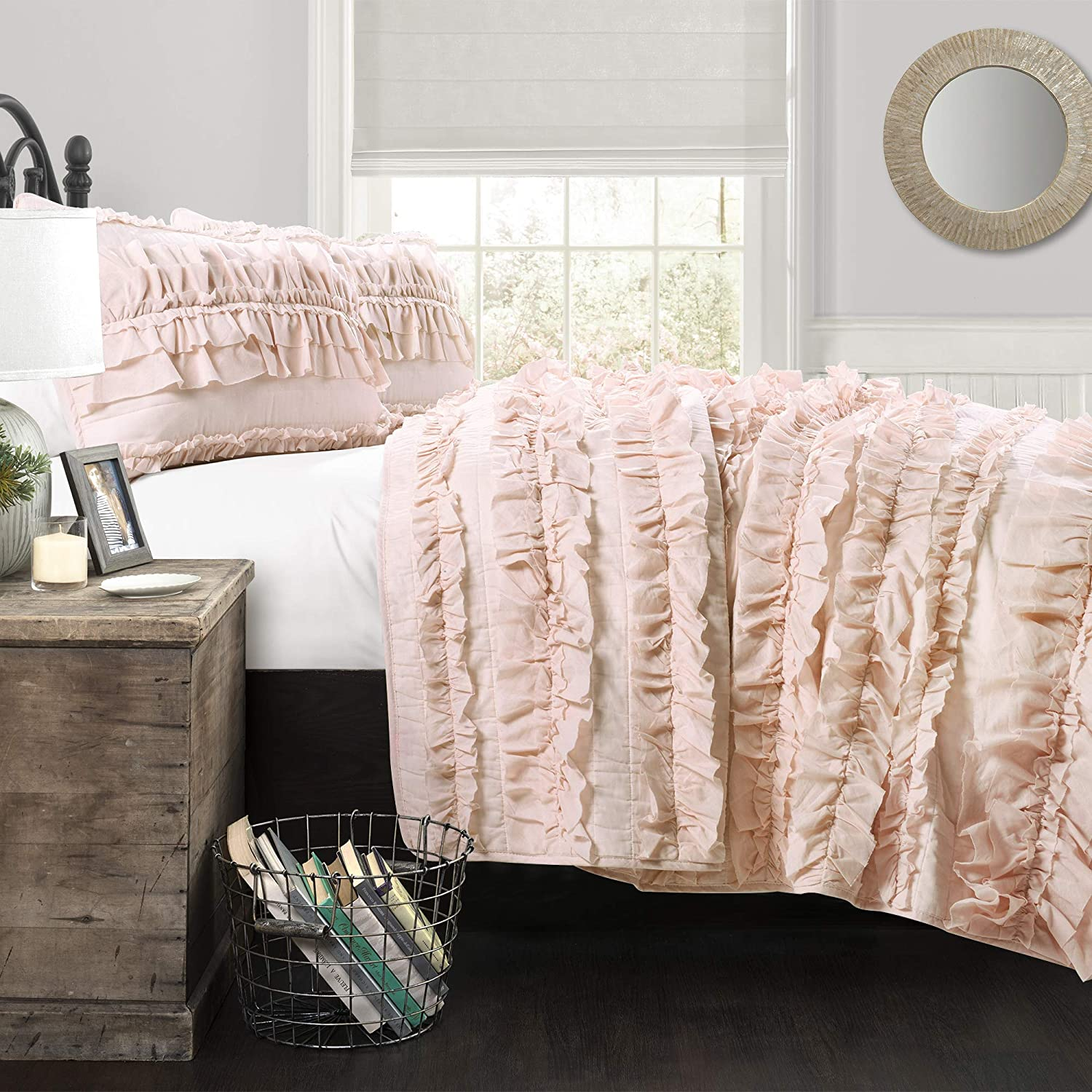 Lush Décor Belle 3 Piece Ruffled Quilt - Pink Blush - Full/Queen Quilt Set