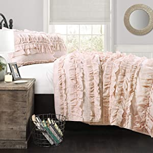 Lush Decor Belle 2 Piece Ruffled Quilt Bedding Set, Twin, Pink Blush