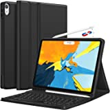 ABOUTTHEFIT Detachable Wireless Keyboard , Apple Pencil Charging Support Ultra Slim PU Leather Folio Stand Cover with Pencils Holder for iPad Pro 11 Inch 2018 (Black)
