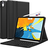 iPad Pro 11 Keyboard Case 2018 - Detachable Wireless Keyboard [Support Apple Pencil Charging] -ATF Ultra Slim PU Leather Folio Stand Cover with Pencil Holder for iPad Pro 11 Inch 2018, Black