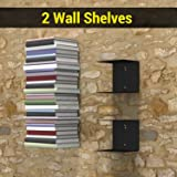 Decorate India Invisible Wall Mounted Book Shelfs (Set of 2 Book Shelves, Black, Metal)