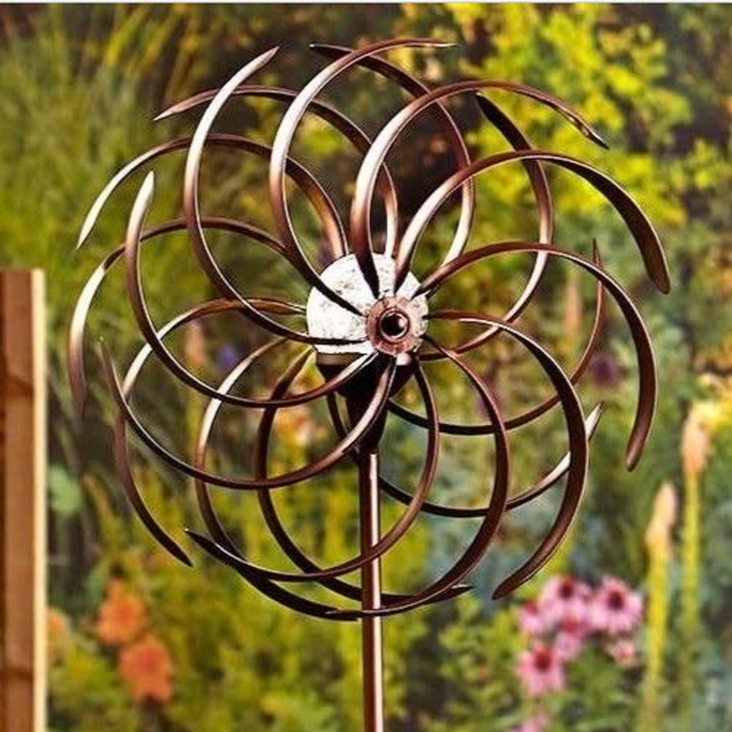USA Premium Store Weather Resistant Double Spiral Solar Lighted Garden Wind Spinner Yard Art Decor by USA Premium Store (Image #2)