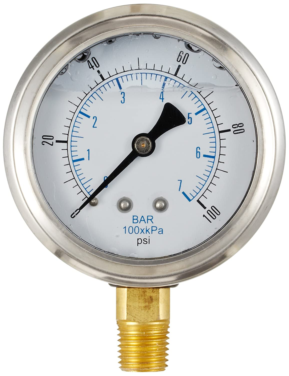 PIC Gauge 201L 158E 1.5 Dial 0 100 psi Range 1 8 Male NPT Connection Size Bottom Mount Glycerine Filled Pressure Gauge with a Stainless Steel Case Brass Internals Stainless Steel Bezel and Polycarbonate Lens