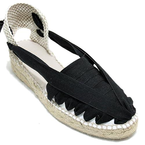 Alpargatas Cuña 3CM Clásica Pintxo o Siete Vetas Negras: Amazon.es: Zapatos y complementos