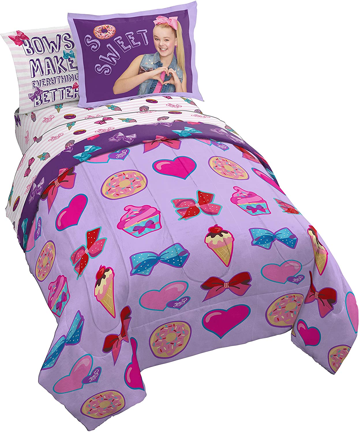 Jay Franco Nickelodeon JoJo Siwa Sweet Life 7 Piece Full Bed Set - Includes Reversible Comforter & Sheet Set Bedding - Super Soft Fade Resistant Microfiber (Official Nickelodeon Product)
