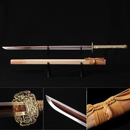 Ninja Sword, Fully Handmade Japanese Samurai Sword 1060 High Carbon Steel Double Edge Sharpened with Center Concave Fluted Shape