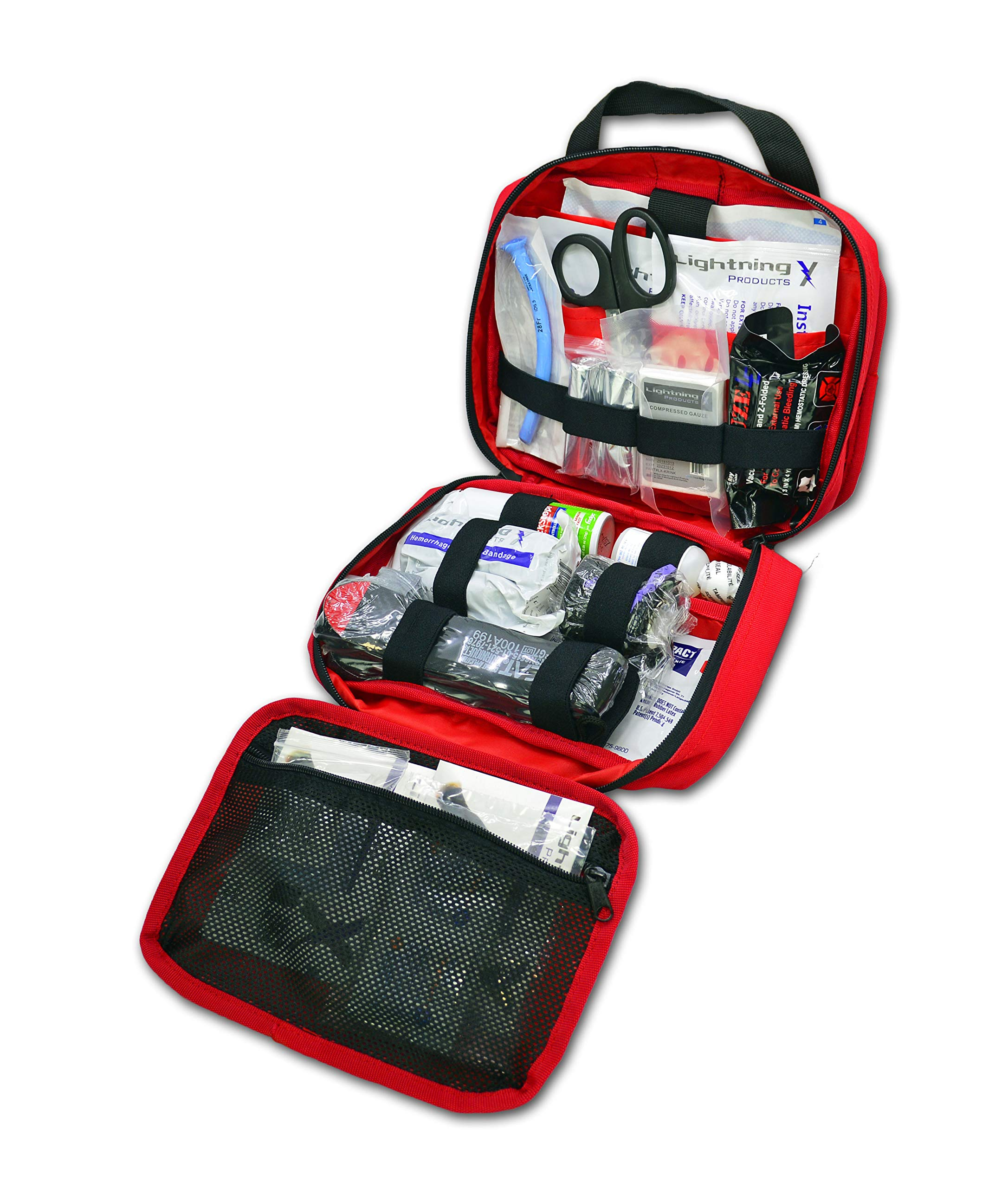 Lightning X Rip-Away Officer's Patrol Tactical Gunshot & Trauma IFAK Kit w/Headrest Mount - RED by Lightning X Products
