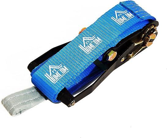 HOMCOM Kit Slackline con Cinta Carraca y Protector de Árbol para Escalada y Deportes Extremos 15mx5cm…