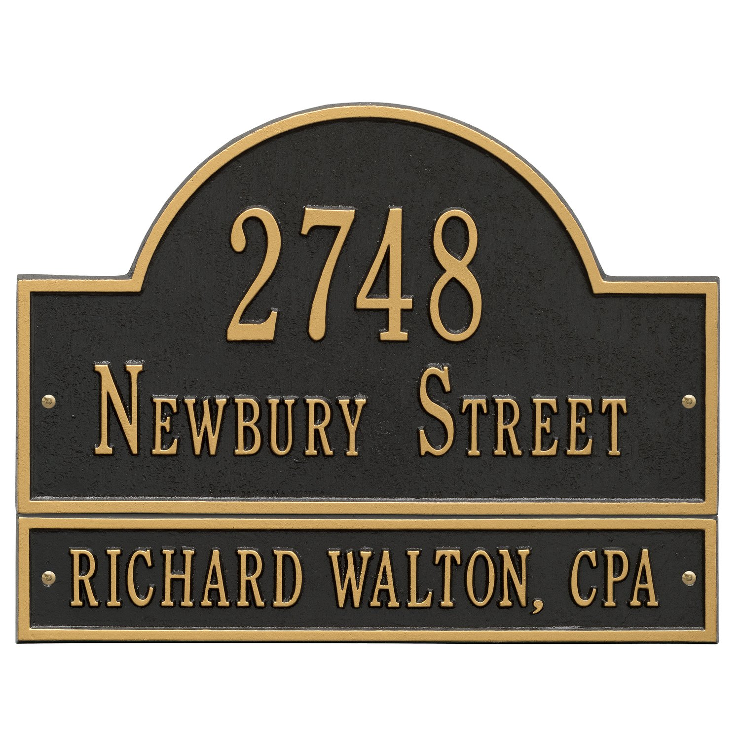 Customized Arch Marker Address Plaque WITH EXTENSION 3 Lines 15.75''W x 9.25''H