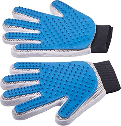 Enhanced Five Finger Design,Perfect for Dog /& Cat amosry  Pet Grooming Glove,Gentle and Efficient Bathing Massage Deshedding Brush Glove Right Hand