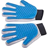 Pet Grooming Glove - Enhanced Five Finger Design - For Cats, Dogs and Horses - Long & Short Fur - Gentle De-Shedding Brush - Your Pet Will Love It
