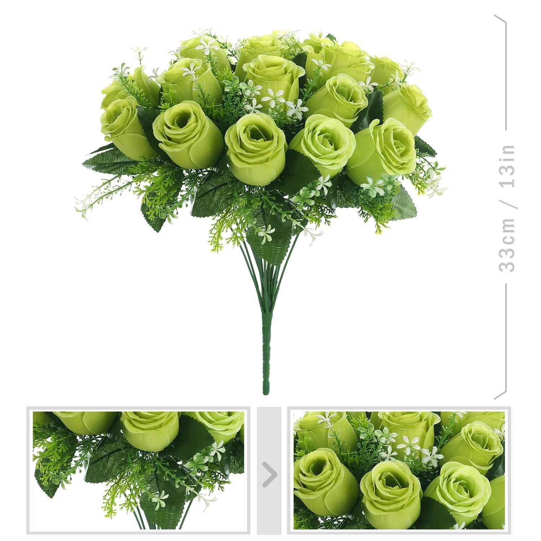 Amazon.com: Silk Rose Bouquet Light Green 18 heads SOLEDI Artificial ...