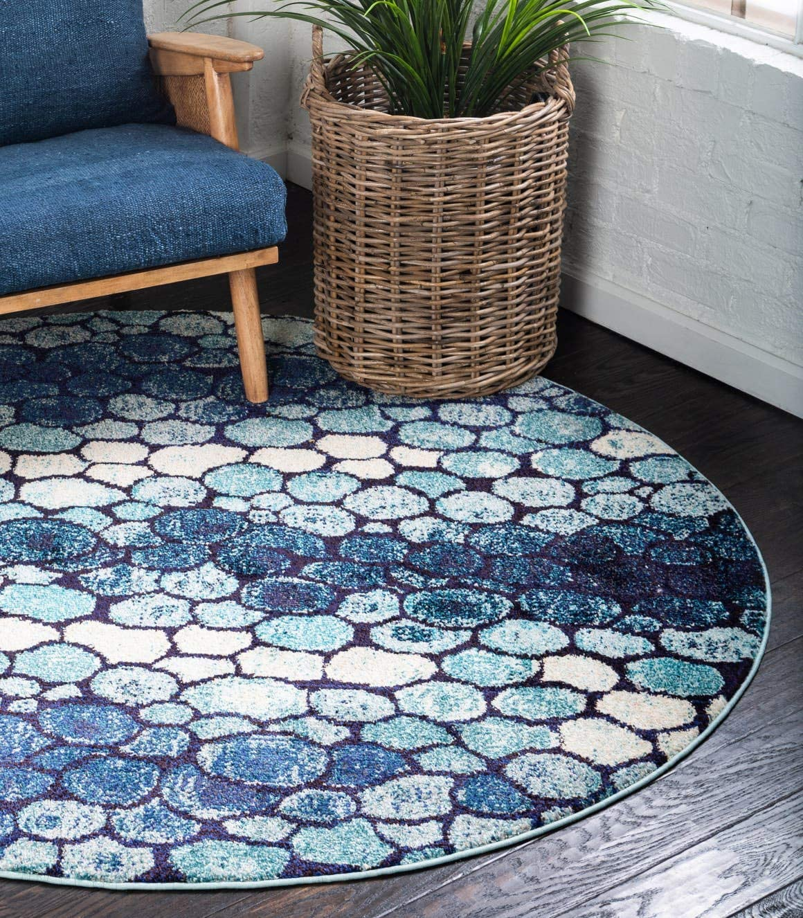 Unique Loom Estrella Collection Modern Abstract Blue Round Rug 6 0 x 6 0