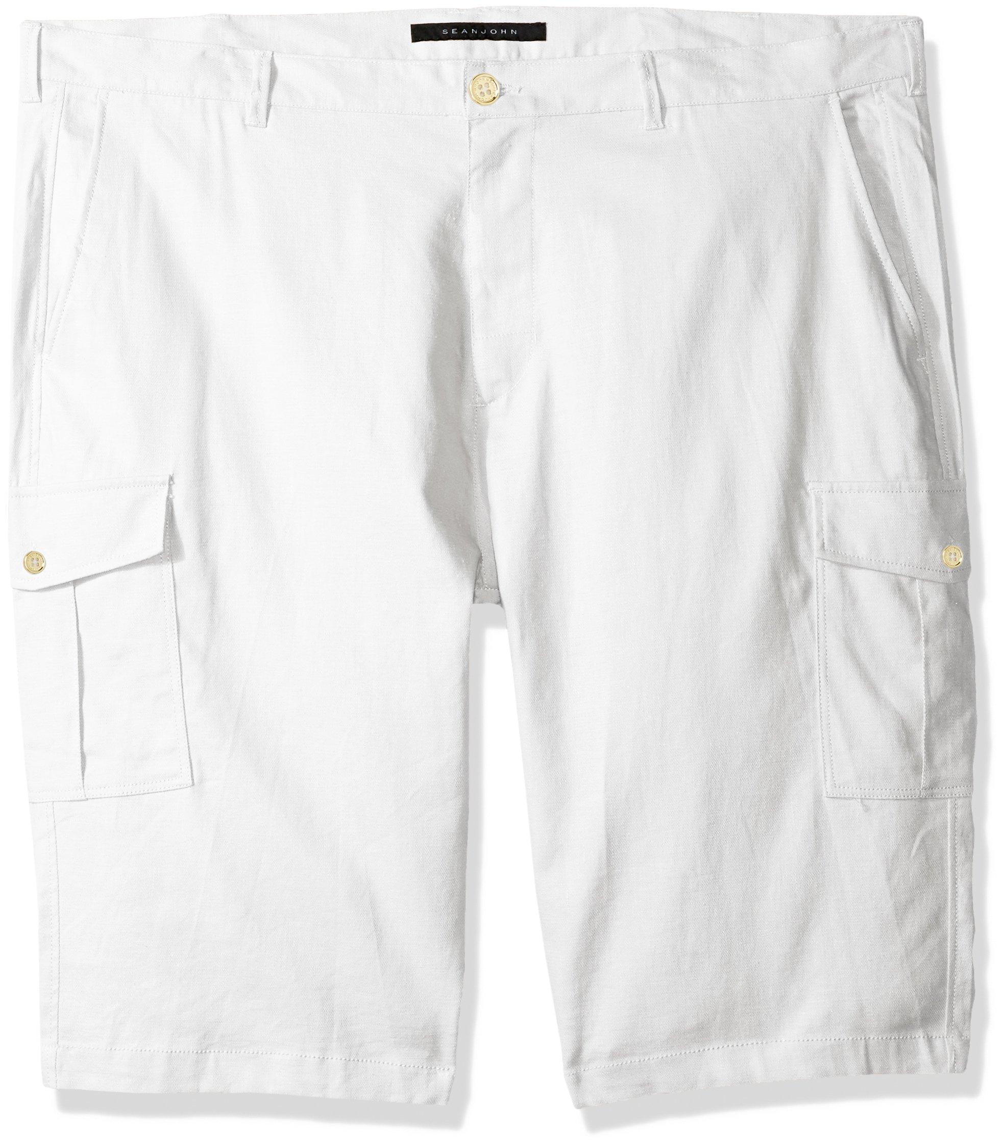 Sean John Men's Solid Linen Cargo Shorts, Bright White, 46B
