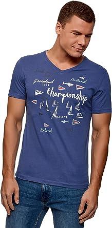 oodji Ultra Hombre Camiseta de Algodón con Cuello Pico: Amazon.es: Ropa y accesorios