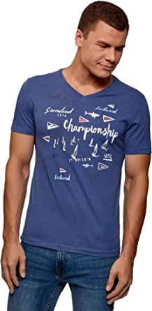 oodji Ultra Hombre Camiseta de Algodón con Cuello Pico: Amazon.es ...