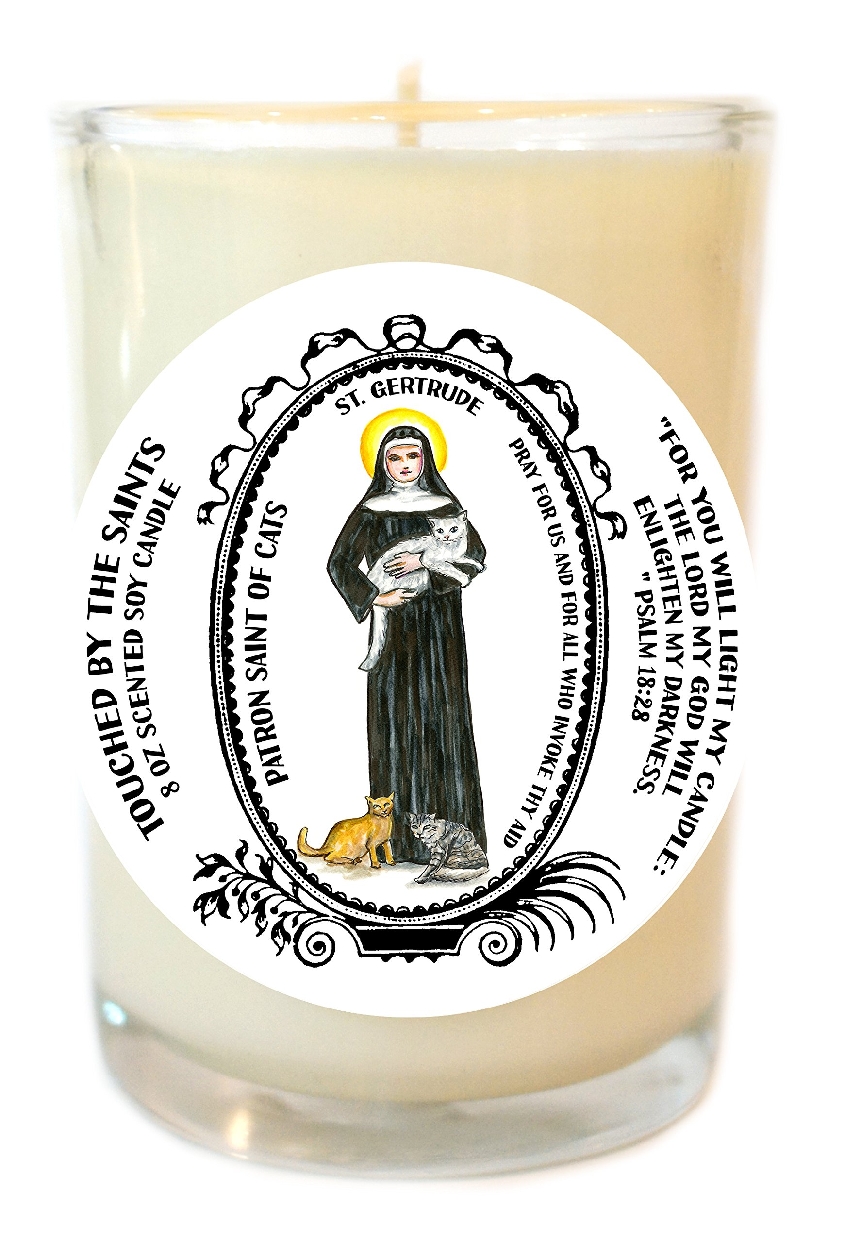 Saint Getrude Patron of Cats 8 Oz Scented Soy Glass Prayer Candle