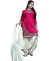 OSLC Pink cotton patiala Salwar Suit Women's Cotton Patiala Salwar Bottoms Blue Designer Cotton Semi-stitched Salwar Suit