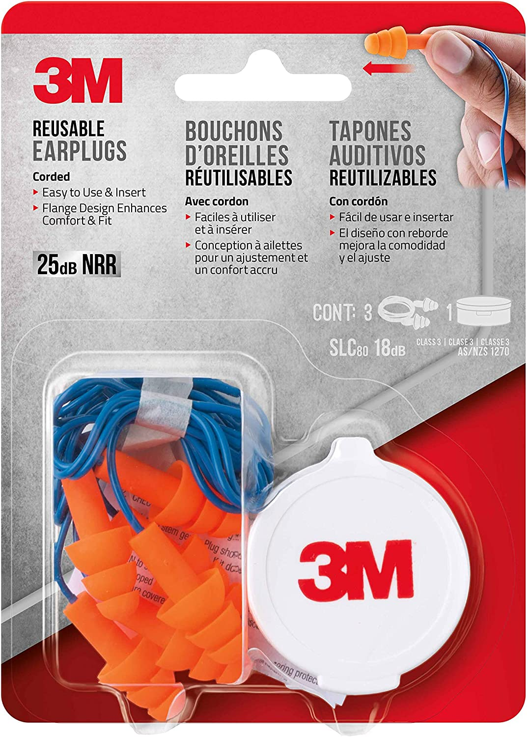 3M Corded Reusable Earplugs, 3-Pair with Case (90716-80025T): Home Improvement